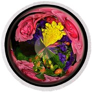 Pink Rose Globe Round Beach Towel