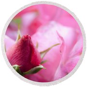 Pink Rose Round Beach Towel by Jeannette Hunt