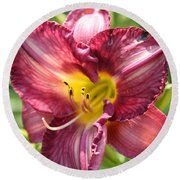 Pink Yellow Lily Round Beach Towel