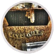 Plymouth Logo Relic Round Beach Towel by Dan Stone