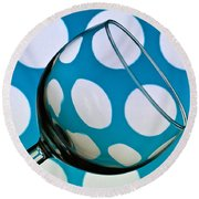 Round Beach Towel featuring the photograph Polka Dot Glass by Steve Purnell