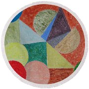 Round Beach Towel featuring the painting Polychrome by Sonali Gangane