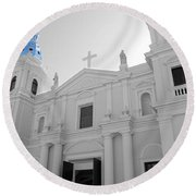 Round Beach Towel featuring the photograph Ponce Puerto Rico Cathedral Of Our Lady Of Guadalupe Color Splash Black And White by Shawn O'Brien