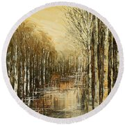 Round Beach Towel featuring the painting Pond Security by Tatiana Iliina