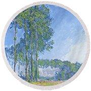 Poplars Round Beach Towel by Claude Monet