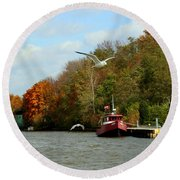 Round Beach Towel featuring the photograph Port Dover Harbour by Barbara McMahon