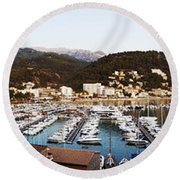 Port Of Soller Round Beach Towel
