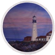 Round Beach Towel featuring the painting Portland Head Lighthouse At Dawn by Julie Brugh Riffey