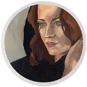 Portrait Of Becca 2 Round Beach Towel