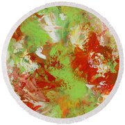 Potted Flowers Round Beach Towel
