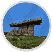 Round Beach Towel featuring the photograph Poulnabrone Dolmen by David Gleeson