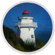 Round Beach Towel featuring the photograph Pouto Lighthouse With Rainbow New Zealand by Mark Dodd