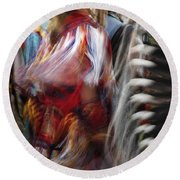 Pow Wow Dancer Round Beach Towel by Vivian Christopher