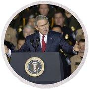 President George W. Bush Speaks Round Beach Towel by Stocktrek Images