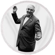 Round Beach Towel featuring the photograph President Warren G Harding - C 1920 by International  Images