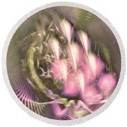 Pretty Lady Of Flowerbed - Abstract Art  Round Beach Towel
