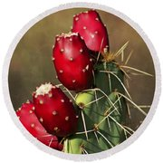 Prickley Pear Fruit Round Beach Towel