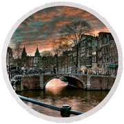 Prinsengracht And Reguliersgracht. Amsterdam Round Beach Towel