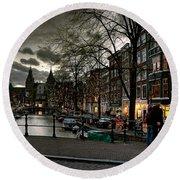 Prinsengracht And Spiegelgracht. Amsterdam Round Beach Towel