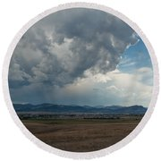 Round Beach Towel featuring the photograph Promises Of Rain by Fran Riley