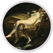 Psyche Transported To Heaven Round Beach Towel