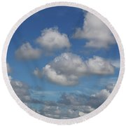 Puff Clouds Round Beach Towel by Nick  Shirghio