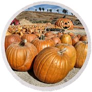 Pumpkin Patch 3 Round Beach Towel