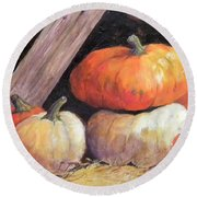 Pumpkins In Barn Round Beach Towel