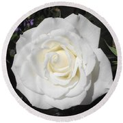 Pure White Rose Round Beach Towel