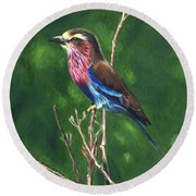 Purple And Blue Bird Round Beach Towel
