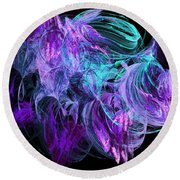 Purple Fusion Round Beach Towel