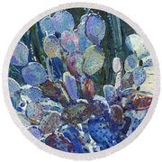 Purple Opuntia Round Beach Towel by Donald Maier