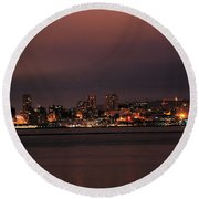Purple Sky Morning Round Beach Towel
