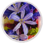 Round Beach Towel featuring the photograph Purple Stars by Debbie Portwood