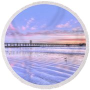 Purple Sunset Round Beach Towel