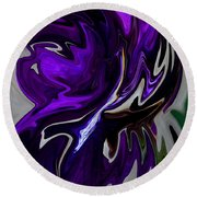 Round Beach Towel featuring the digital art Purple Swirl by Karen Harrison