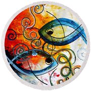 Purposeful Ichthus By Two Round Beach Towel