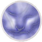Digital Puss In Blue Round Beach Towel by Linsey Williams