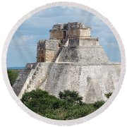 Pyramid Of The Magician At Uxmal Mexico Round Beach Towel by Shawn O'Brien