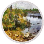 Round Beach Towel featuring the painting Quarry View by Mario Carini