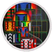 Round Beach Towel featuring the painting Quazar by Mark Howard Jones