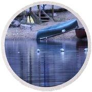 Quiet Canoes Round Beach Towel