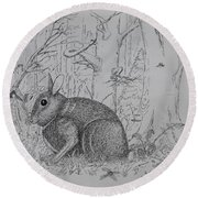 Rabbit In Woodland Round Beach Towel