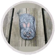 Rabbit Rock Painting Round Beach Towel