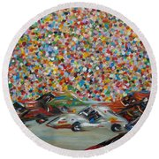 Round Beach Towel featuring the painting Race Day by Judith Rhue