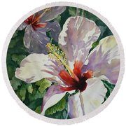Radiant Light - Hibiscus Round Beach Towel