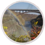 Round Beach Towel featuring the photograph Rainbow At Lower Falls by William Norton