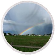 Rainbow Before The Storm Round Beach Towel