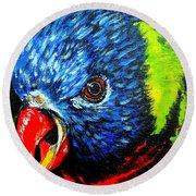 Round Beach Towel featuring the painting Rainbow Lorikeet Look by Julie Brugh Riffey