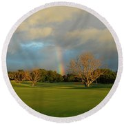 Round Beach Towel featuring the photograph Rainbow Over Princeville by Lynn Bauer
